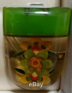 Vintage Art Deco Reverse Carved Apple Juice Bakelite Dress Pin Set in Coro Box