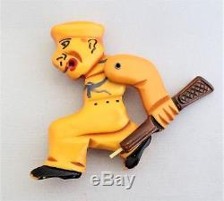Vintage BAKELITE 1940's Military Man Pin w Movable Arm w Gun