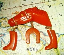 Vintage BAKELITE Butterscotch Figural Horse Dangle Charms Boots Brooch Pin