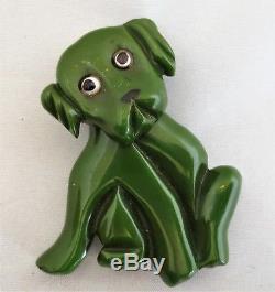 Vintage BAKELITE Green Dog Pin Brooch w Movable Head