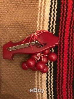 Vintage BAKELITE Hand With Cherries Art Deco era Pin Brooch