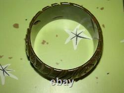 Vintage BAKELITE Plastic Carved Bracelet Bangle Pin Belt Clip LOT Green Brown