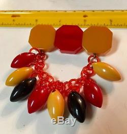 Vintage BAKELITE Red & Butterscotch & Black Dangling on Amber chain PIN / BROOCH