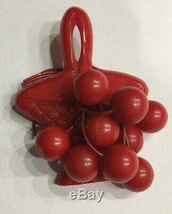 Vintage BAKELITE Red Carved Basket With Cherries Art Deco Era Pin Brooch