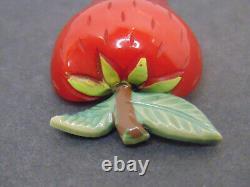 Vintage BAKELITE Strawberry Pin Brooch