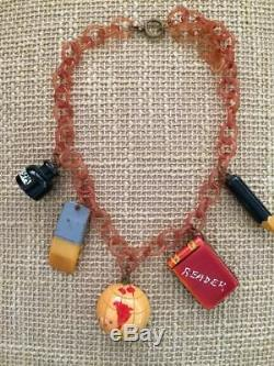 Vintage BAKELITE necklace school charms globe eraser ink book SLEEPER not pin