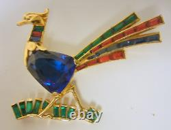 Vintage Baguettes Sparkling Blue Green Red Rhinestone Exotic Bird Pin Brooch