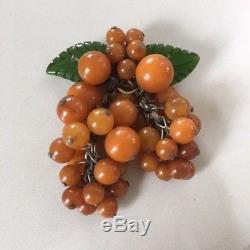 Vintage Bakelite 1940's Grape Pin Brooch