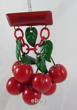 Vintage Bakelite 8 Carved Bright Red Marbled Cherries Dangling Pin Brooch