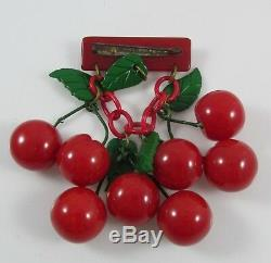 Vintage Bakelite 8 Carved Bright Red Marbled Cherries Dangling Pin Brooch