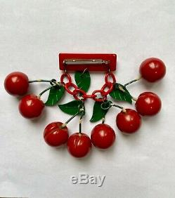 Vintage Bakelite 8 Carved Red Cherry 5 Green Carved Leaves Pin Dangle Womens