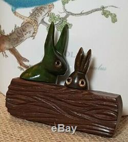 Vintage Bakelite And Wood Carved Bunny Rabbits Pin Simichrome Tested Antique