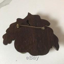 Vintage Bakelite And Wood Pear Pin Brooch