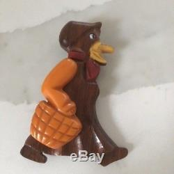 Vintage Bakelite And Wood Pivoting Arm Lady Bird Pin Brooch