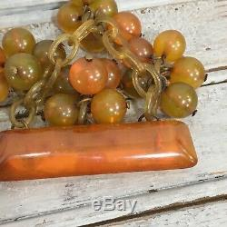 Vintage Bakelite Apple Juice Bar Pin Round Ball Dangles Chain Brooch