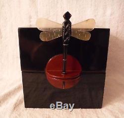 Vintage Bakelite Art Deco Black Maroon Jewelry Trinket Box Dragonfly Close Pin
