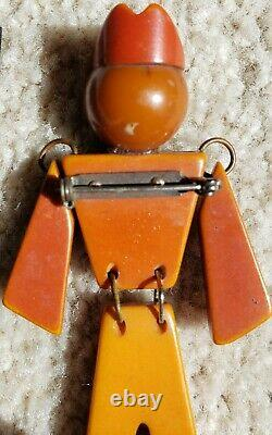Vintage Bakelite Articulated Solider Brooch / Pin Military Army