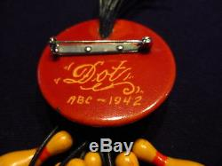 Vintage Bakelite Bowling Brooch Over-Dyed Root Beer with Ten Pins Dated 1942
