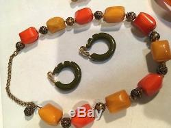 Vintage Bakelite Bracelet & Carved Brooch, Necklace, Pin Lot All Test Positive