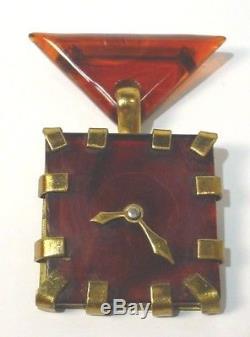Vintage Bakelite & Brass Figural Faux Clock Brooch Pin RARE