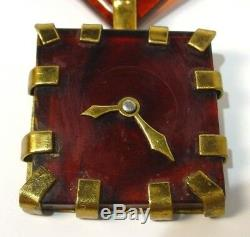 Vintage Bakelite & Brass Figural Faux Clock Brooch Pin RARE
