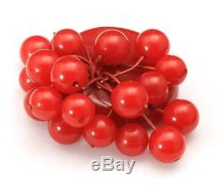 Vintage Bakelite Bright Red Dangling Cherries on Large Round Circle Brooch Pin