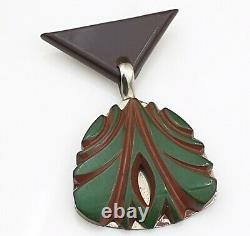 Vintage Bakelite Brooch Brown Green Carved Drop Pin Jewellery Jewelry 40s 1940s