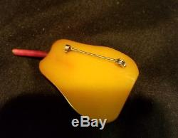 Vintage Bakelite Brooch yellow Pear with stem- pin mid century rare tested
