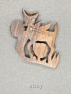 Vintage Bakelite Brown Deer Wooden Tree Brooch Pin