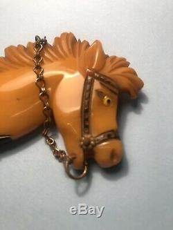 Vintage Bakelite Butterscotch Carved Horse Head Brooch PIN