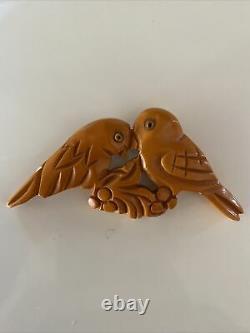Vintage Bakelite Butterscotch Carved LoveBirds Pin