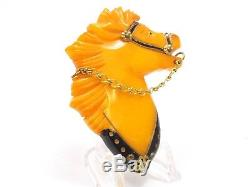 Vintage Bakelite Butterscotch Equestrian Horse with Chain Reins Brooch Pin