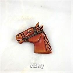 Vintage Bakelite Butterscotch Horse Head Glass Eye Brass Trim Pin Brooch