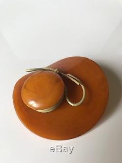 Vintage Bakelite Butterscotch Marble Hat Brooch, Bakelite Bonnet Pin, 1930s-40s