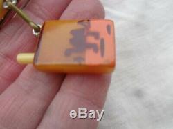 Vintage Bakelite Camel Lit Cigarette Pack Dangling Charm Figural Pin Old Estate