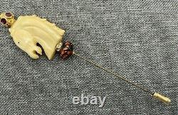 Vintage Bakelite Carousel Horse Rhinestone Stick Pin Hat Pin Carved Tie Tack