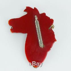 Vintage Bakelite Carved 3 Horse Head Pin Brooch Book Piece