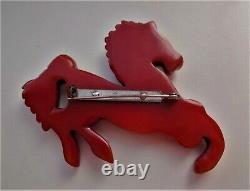 Vintage Bakelite Carved Equestrian Horse Brass Rivets Glass Eye Brooch Pin 3w