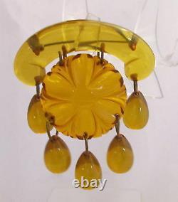 Vintage Bakelite Carved Flower Apple Juice&Vaseline Egg Drops Dangle Pin Brooch