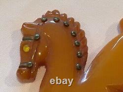 Vintage Bakelite Carved Glass Eye Horse Pin / Brooch NICE
