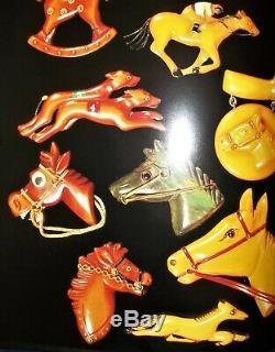 Vintage Bakelite Carved Googly Eye Horse Brooch PIN -2-3/4- 20.6g Book Piece