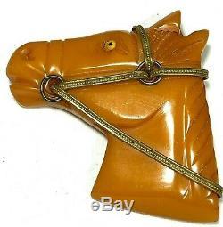 Vintage Bakelite Carved Horse Head with Metal Bridle /Amber Glass Eye Brooch Pin
