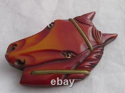 Vintage Bakelite Carved Large Horse Head Face Glass Eyes Brass Trim Pin Brooch