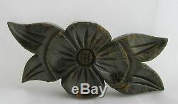 Vintage Bakelite Carved Spinach Green Marbled Mustard Yellow Flower Pin Brooch