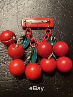 Vintage Bakelite Cherry Brooch Pin