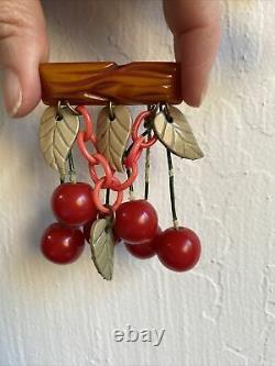 Vintage Bakelite Cherry & Carved Log Brooch Pin 1940s