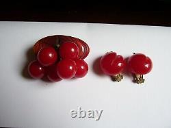 Vintage Bakelite Cherry Pin & Ear Set Book Piece