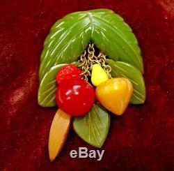 Vintage Bakelite Collectors Dangling Fruit & Leafs Pin