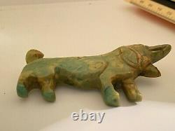 Vintage Bakelite Dachshund Pin Brooch Large 3 Inch Carved Spinach Green SWEET