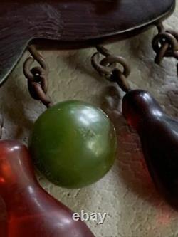 Vintage Bakelite Dangling Cherry Orange Prystal Bowling Pin Green Ball Brooch
